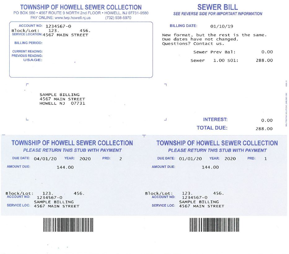 Sewer Bill Example