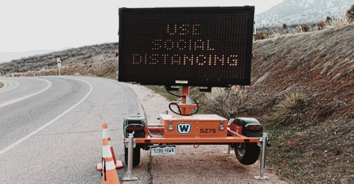 Social Distancing Message Sign